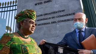 Ngozi Okonjo-Iweala at the entrance to the WTO in Geneva, 1 March