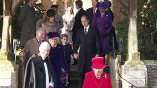 The Queen and other members of the royal family pictured at St Mary Magdalene church in Sandringham last year