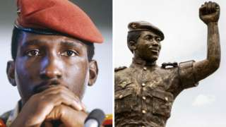 A composite image showing the late leader in life, and the statue of him unveiled in May 2020.