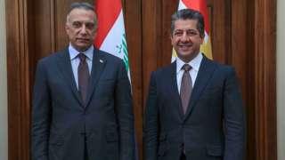 Irak Başbakanı Mustafa Kazımi ve IKBY Başbakanı Mesrur Barzani