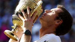 Andy Murray with the Wimbledon trophy