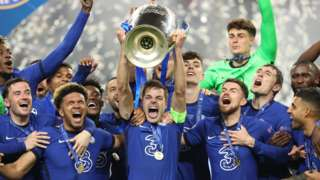 Chelsea players celebrate winning the Champions League final against Manchester City