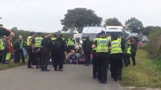 Protesters outside third energy site