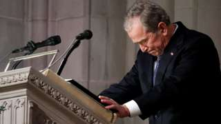 George W Bush concludes the eulogy to his father. 5 Dec 2018