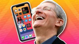 Tim Cook laughs, in a collage featuring an iPhone behind him