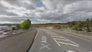 The crash happened on the A4048 by Sainsbury's in Pontllanfraith