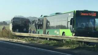 Bus and coach crash on A47