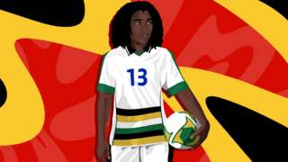 An illustration of footballer Eudy Simelane, wearing the national South Africa kit and holding a football, on a red, yellow and black background