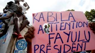 Supporters of Martin Fayulu at rally on 11 January