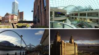 Manchester, Leeds, Newcastle, Liverpool