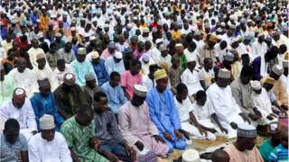 Muslims during prayers for Lagos mosque