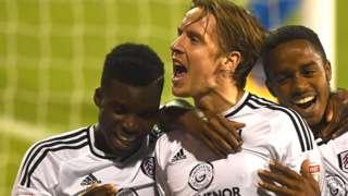 Stefan Johansen of Fulham celebrates scoring a goal