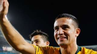 Tim Cahill waving goodbye