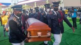 Pallbearers carry the coffin of late Haitian leader Jovenel Moïse