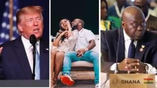 Donald Trump for left, Davido and Chioma for middle and Nana Akufo Addo for right