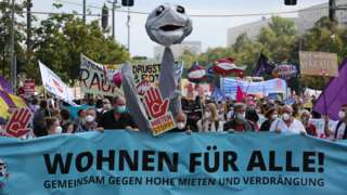 Protesto em Berlin contra preços de aluguéis altos