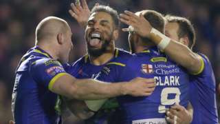 Ryan Atkins scored the second of Warrington's two tries to help beat Wigan
