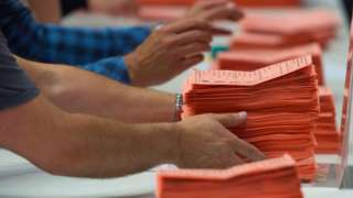 Ballot papers are counted at the Sport Wales National Centre on June 9, 2017 in Cardiff, United Kingdom.