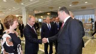 Встреча Владимира Путина с Петром Порошенко в Минске, 2014 год