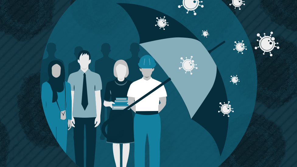Graphic of workers being sheltered from coronavirus by an umbrella