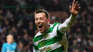 Celtic midfielder Callum McGregor celebrates against Zenit St Petersburg