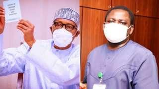 Aarẹ Buhari ati Femi Adesina