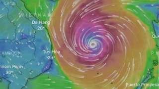 Vị trí Cơn bão số 9 vào lúc 17 giờ (giờ Việt Nam) ngày 27/10