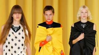 Prada models at Milan Fashion Week 2021