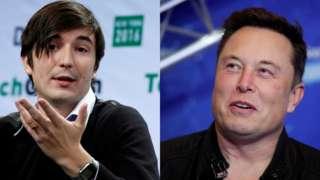 Robinhood co-founder Vladimir Tenev (L) and Tesla boss Elon Musk
