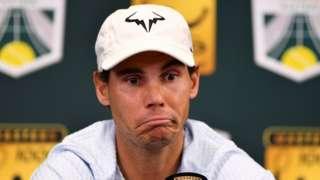 Rafael Nadal frowns