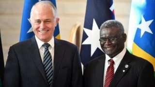 Australian PM Malcolm Turnbull and his Solomon Islands counterpart, Manasseh Sogavare