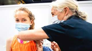Child being vaccinated in the Netherlands