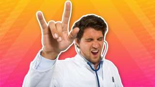 "A man wearing a white coat and wearing a doctor's stethoscope in his ears raises his hand in ""devils horns"" as if rocking out to music"