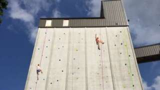 Climbing wall at ROKT outdoor climbing centre in Brighouse