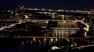 Vista noturna de Viena