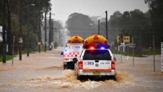 Emergency vehicles in flooded Sydney