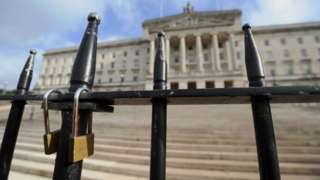 General view of the locked gates at Stormont in Belfast