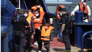 Children arriving at Dover