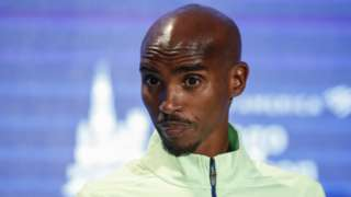 Four-time Olympic champion Mo Farah speaks at a news conference