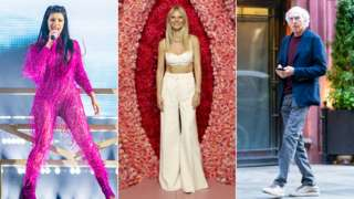 Cardi B (L). Gwyneth Paltrow (C) and Larry David (R)