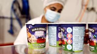 Tubs of Ben & Jerry's ice cream are seen at a factory in Be'er Tuvia, Israel (20 July 2021)