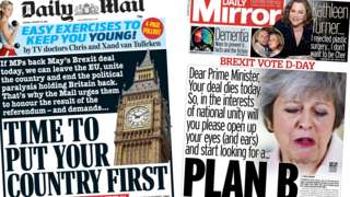 Composite image showing Daily Mail and Daily Mirror front pages