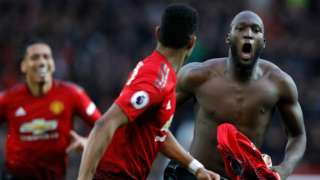 Romelu Lukaku celebrates scoring Manchester United's winner against Southampton