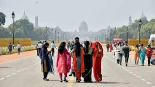 Tourists at Rajpath