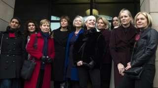 BBC presenters including Mariella Frostrup (R), Kate Adie (C), Kate Silverton (C-L) and Naga Munchetty (L)