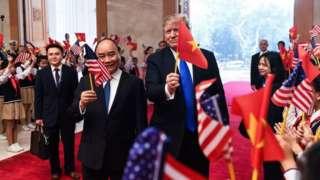 Donald Trump with Vietnam's Prime Minister Nguyen Xuan Phuc