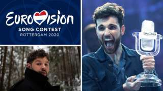 A composite image showing different elements of the Eurovision Song Contest