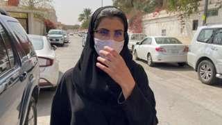 Loujain al-Hathloul walks to an appeal hearing at a court in Riyadh, Saudi Arabia (10 March 2021)