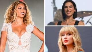 Beyoncé, Dua Lipa and Taylor Swift