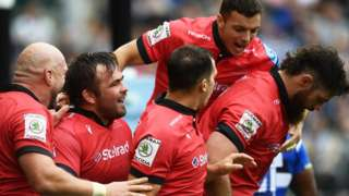 Newcastle celebrate a try against Bath